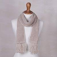 Rib knit scarf, 'Natural Andean Textures' - Natural Off-White Andean Unisex Rib Knit Acrylic Scarf