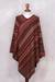 Knit poncho, 'Rivers of Red' - Red and Multi-Color Striped Acrylic Knit Poncho (image 2e) thumbail
