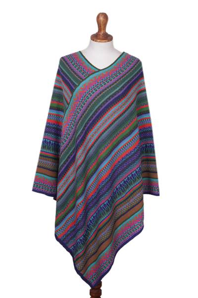 Fuchsia and Multi-Color Striped Acrylic Knit Poncho