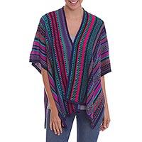 Knit alpaca blend ruana,