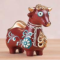 Ceramic statuette, 'Elegant Bull of Quinua' - Brown Little Bull of Quinua Ceramic Statuette from Peru