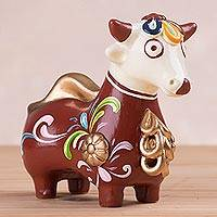 Ceramic statuette, 'Bicolor Bull of Quinua' - Brown and White Little Bull of Quinua Statuette from Peru