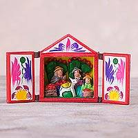 Wood and ceramic retablo, 'Bountiful' - Hand Crafted Retablo with Fisherman Family and Floral Motifs