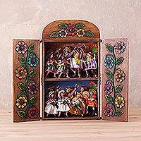 Ceramic and wood retablo, 'Paccha Carnival' - Hand-Painted Cultural Ceramic and Wood Retablo from Peru