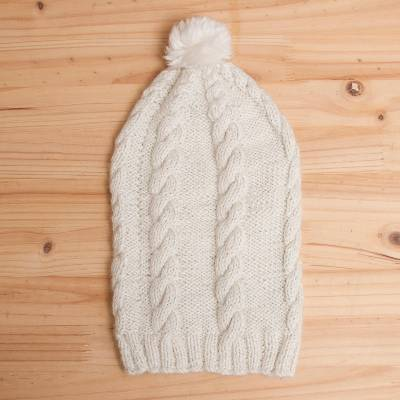 100% alpaca hat, 'Andean Roots' - Handmade Beige 100% Alpaca Hat with Pompom from Peru