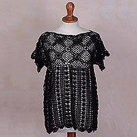 100% pima cotton top, 'Midnight Blossoms' - Black Hand Crocheted 100% Pima Cotton Top with Floral Design