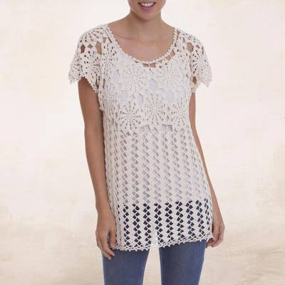 100% pima cotton top, 'Flower Power' - Ivory 100% Pima Cotton Hand Crocheted Floral Themed Top