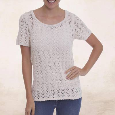100% pima cotton top, 'Spring Goddess' - Ivory 100% Pima Cotton Top Crocheted by Hand from Peru