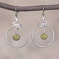 Serpentine dangle earrings, 'Swirling Moons' - Round Natural Serpentine Dangle Earrings from Peru