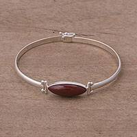 Jasper pendant bracelet, 'Fantastic Eye' - Red Jasper and Sterling Silver Pendant Bracelet from Peru