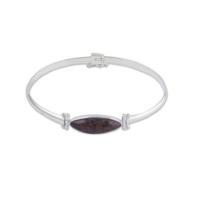 Obsidian and Sterling Silver Pendant Bracelet from Peru