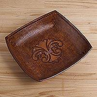 Leather catchall, 'Andean Fleur-de-Lis' - Peru Handcrafted Tooled Leather Andean Fleur-de-Lis Catchall