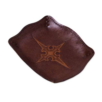 Leather Embossed Catchall Featuring a Gothic Cross