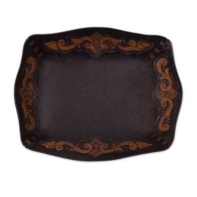 Leather catchall, 'Spanish Viceroy' - Peru Handcrafted Tooled Leather Colonial Art Theme Catchall