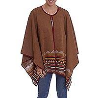 100% baby alpaca ruana, 'Song of the Andes in Brown' - 100% Baby Alpaca Knit Ruana in Brown with Geometric Pattern