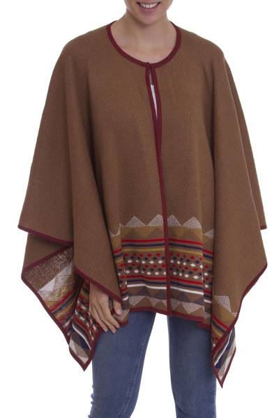 100% Baby Alpaca Knit Ruana in Brown with Geometric Pattern