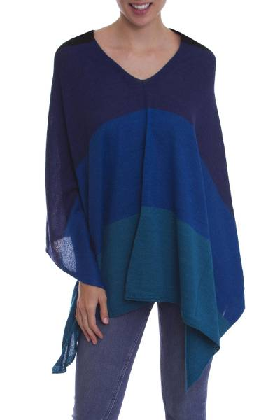 100% baby alpaca poncho, 'Gem of the Andes' - Black, Blue and Green 100% Baby Alpaca Knit Poncho from Peru