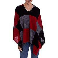 100% baby alpaca poncho, 'Checkmate in Red' - Baby Alpaca Knit Poncho with Red, Grey and Black Squares