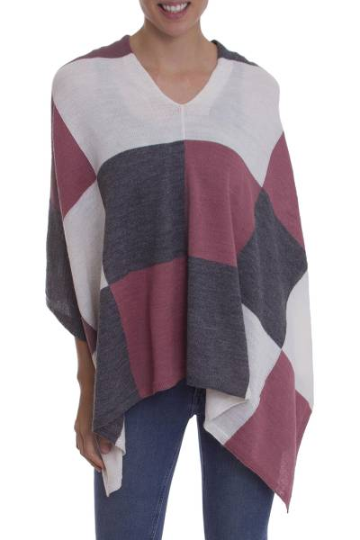 Baby Alpaca Knit Poncho with White Grey and Pink Squares