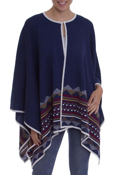 Blue 100% Baby Alpaca Knit Ruana with Geometric Pattern