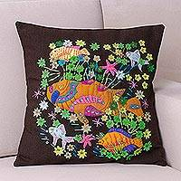 Applique cushion cover, 'Sea Garden' - Dark Brown Cushion Cover with Underwater Scene Appliques