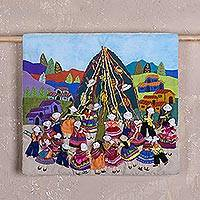 Cotton blend arpilleria wall hanging, 'Yunza Celebration' - Cotton Blend Arpillera Wall Hanging of Yunza Celebration
