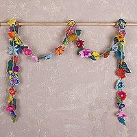 Felt flower garland, 'Bloom' - Hand Crafted Fabric Floral Garland from Peru