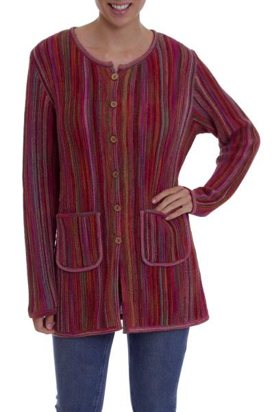 100% Alpaca knit sweater jacket, 'Andean Fire' - Multi-Color and Red Striped 100% Alpaca Knit Sweater Jacket