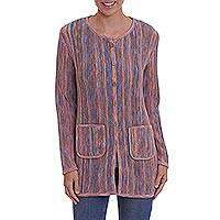 100% alpaca sweater jacket, 'Stripe Celebration' - Multi-Color and Lavender Striped 100% Alpaca Knit Cardigan