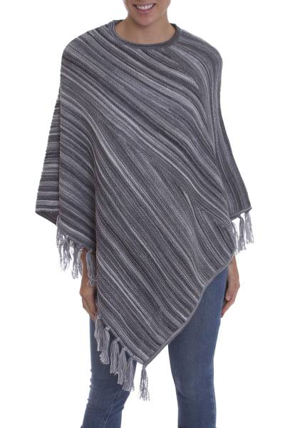 100% Alpaca poncho, Swirling Clouds