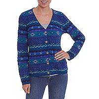 100% Alpaca knit cardigan, 'Colonial Garden' - 100% Alpaca Patterned Knit Cardigan in Shades of Blue