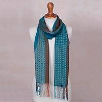 Baby alpaca blend scarf, 'Mountain Rain' - Baby Alpaca Blend Hand Woven Blue and Orange Striped Scarf
