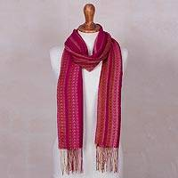 Baby alpaca blend scarf, 'Pink Parade' - Handwoven Baby Alpaca Blend Pink Striped Scarf from Peru
