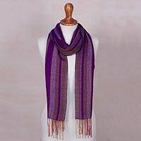 Baby alpaca blend scarf, 'Purple Reign' - Baby Alpaca Blend Hand Woven Purple and Pink Striped Scarf