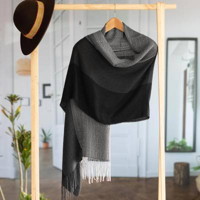 Baby alpaca blend shawl, 'Power Executive' - Handwoven Black and Grey Baby Alpaca Blend Shawl from Per