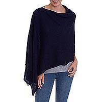 100% baby alpaca poncho, 'Depth' - Midnight Blue 100% Baby Alpaca Poncho from Peru