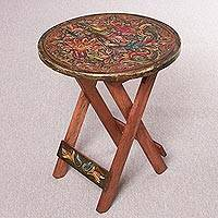 Wood and leather folding accent table, 'Royal Flowers' - Handcrafted Wood and Leather Folding Table from Peru