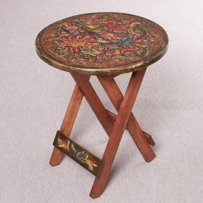 Wood and leather folding accent table, Royal Flowers