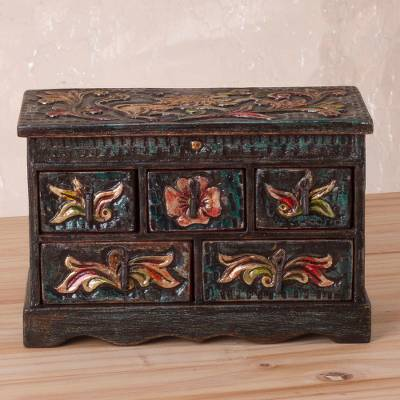 Wood and leather jewelry box, 'Vintage Glory' - Handcrafted Wood and Leather Jewelry Box