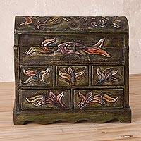 Wood and leather jewelry box, 'Andean Glory' - Handcrafted Wood and Leather Jewelry Box