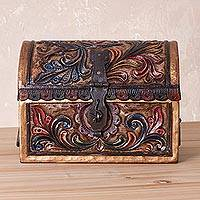 Leather and wood mini chest, 'Mystic Forest' - Leather and Wood Hand-Embossed Mini Chest from Peru