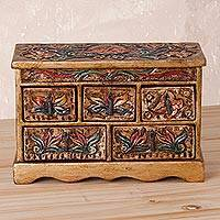 Wood and leather jewelry box, 'Ornate Beauty' - Handcrafted Wood and Leather Jewelry Box