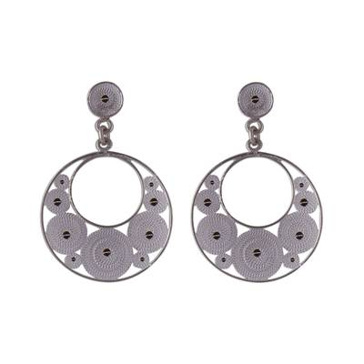 Sterling Silver Filigree Crescent Dangle Earrings from Peru