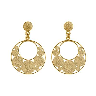 Gold Plated Silver Filigree Crescent Earrings from Peru