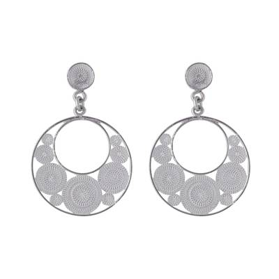 Crescent-Shaped Sterling Silver Filigree Earrings from Peru