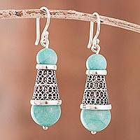 Amazonite filigree dangle earrings, 'Sweet Cones' - Amazonite and Silver Filigree Dangle Earrings from Peru