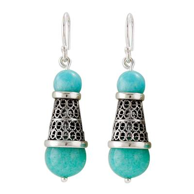 Amazonite and Silver Filigree Dangle Earrings from Peru