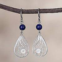 Sodalite filigree dangle earrings, 'Windy Elegance' - Sodalite and Silver Filigree Dangle Earrings from Peru