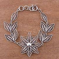 Sterling silver filigree link bracelet, 'Fabled Flower' - Floral Sterling Silver Filigree Link Bracelet from Peru