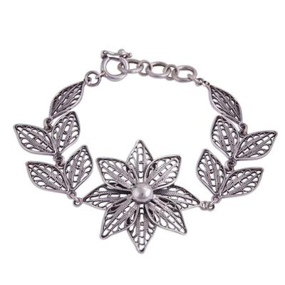 Floral Sterling Silver Filigree Link Bracelet from Peru